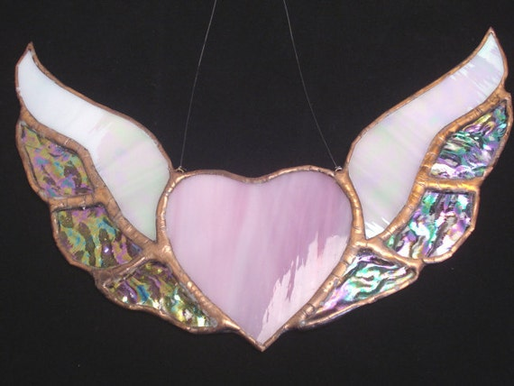 Pink Heart Wings iridized stained glass suncatcher for window - photo#40