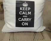 Keep Calm and Carry On Crown Pillow