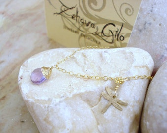 Amethyst Gold Filled necklace Dragonfly