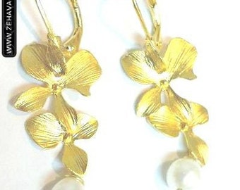 Dual Orchid Earrings with a Pearl