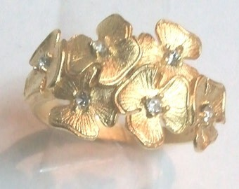 Sterling Silver 925 Gold Plated 24k gold Flower ring