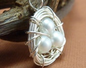 Wire Wrapped Nest Necklace for Mothers