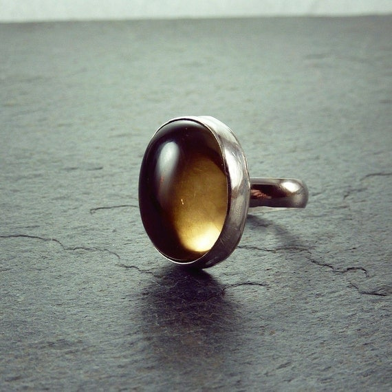 smoky quartz ring in sterling silver by one9designs on etsy