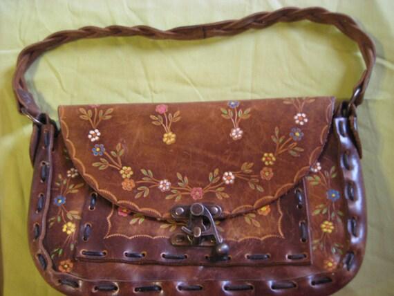 VINTAGE boho leather embossed Hand Tooled PURSE