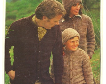 Vintage 1978 Cardigan and Toque Knitting Pattern - Patons Beehive Chunky 1566 - Button Front Sweater for Men, Women and Children