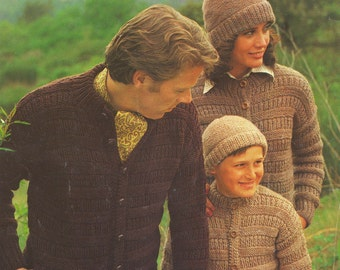 Vintage 1978 cardigan knitting pattern - Patons beehive chunky 1566