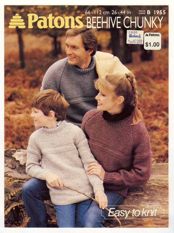 Vintage 1982 sweater knitting pattern - Patons beehive chunky 1955