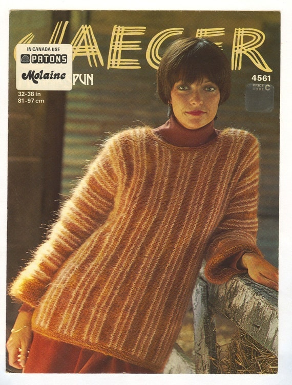 Vintage 1976 womens mohair sweater knitting pattern - Jaeger 4561