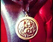 MERMAID TREASURE - Customized Solid Perfume Locket with Antique Finish - Art Nouveau Woman Victorian Flower Maiden
