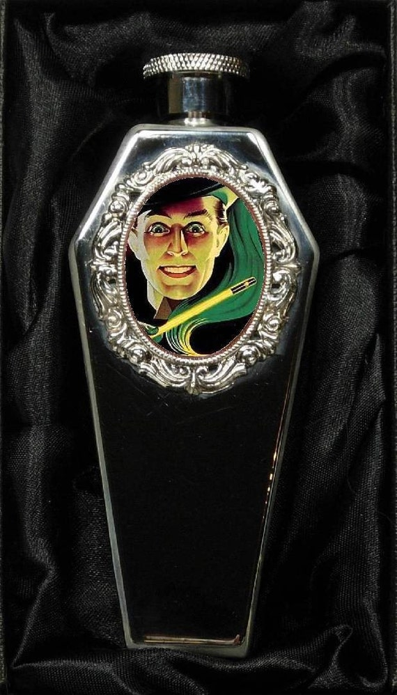 Limited Collectors Edition  - ABSINTHEO  In  1 oz  Sterling Silver Plated Coffin Flask