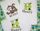 BURP CLOTH BIB set Monkey free personalized You design it