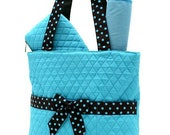 QUILTED Teal and Brown DIAPER BAG  3 pc set Personalized Free Name, Monogram Baby Shower Gift