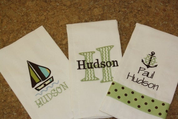 Nautical Sailboat Burp Cloth set of 3 Personalized, Monogram, Embroidered, Applique Great Shower Gift
