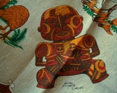 NEW ZEALAND TABLECLOTH - Maori Carvings and Kiwis - Size 48 x 48 - Pure Linen