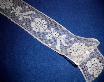 DELICATE FRENCH LACE -Vintage Ecru Lace - 1 yard long  x 1 5/8 inches wide Made in France Prior to 1940