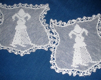 ANTIQUE Lace Trimmed FILET MEDALLIONS - Set of Two Matching