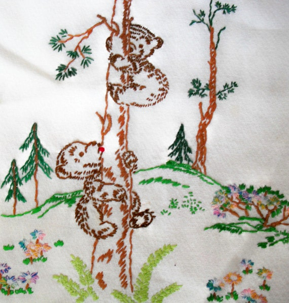 COVER for BABY CHEST - Hand Embroidered Little Bears Climbing a Tree at Each End - Vintage -