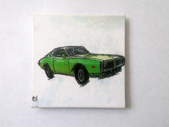 vintage muscle car Green Dodge Charger Art Magnet. Art for any magnetic surface. 4x4 inches. Free Shipping