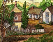 Bolt Hole Original Watercolor Painting Cottage Picket Fence Village