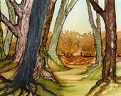 Autumn Afternoon Stroll Original Watercolor Country Landscape