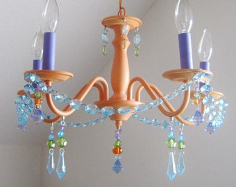 Petite Sherbet and blueberry Nursery Chandelier MADE-TO-ORDER