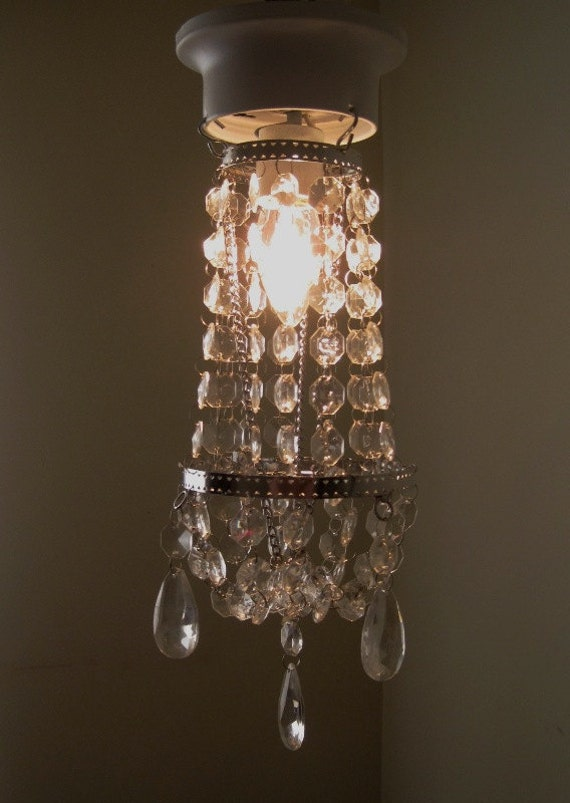 Hollywood Glam Petite 1 Bulb Chandelier With Fixture MADE TO ORDER
