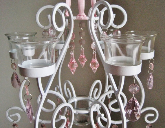 Pink Collection Shabby White and Pink 7 Candle Chandelier MADE TO ORDER