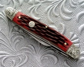 Hand Engraved Boker Magnum Bonsai Folding Pocket Knife        Gift for men him anniversary graduation
