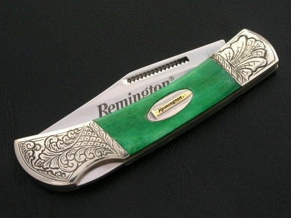 Custom Engraved Green Remington Lockback Pocket Knife