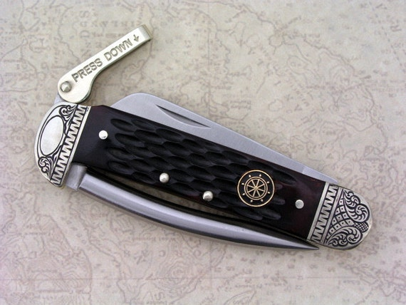 Personalized Hand Engraved Marlinspike Schrade Mariners  Knife