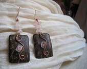 Copper handmade etnic pendant earrings with coconut and rose quartz