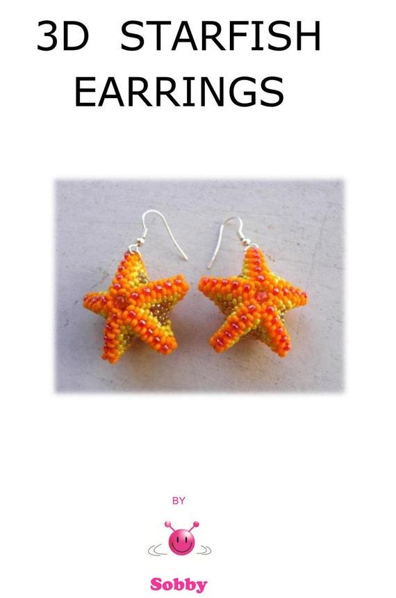 Pattern Beaded Starfish Earrings, PDF tutorial
