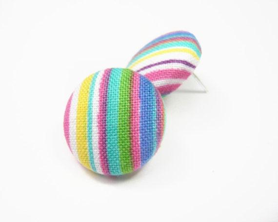 Rainbow stripes button earrings, stud earrings