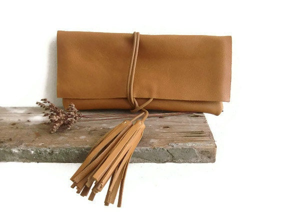 Camel Leather Clutch Handbag Purse Minimalist with Tassels