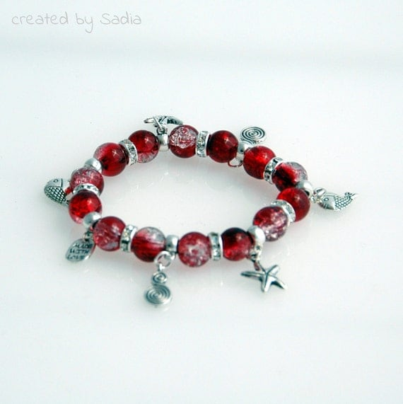 Bracelet red and crystal, treasures from the sea