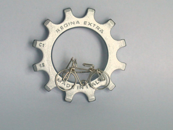 Bicycle brooch silver filled wire wrapped