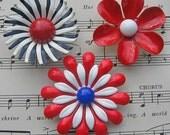 Vintage Enamel Brooch Magnet Trio - 3 Red, White and Blue Enamel Flower Magnets