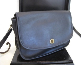 Vintage Coach Navy Leather Handbag with Cross Body or Shoulder Strap
