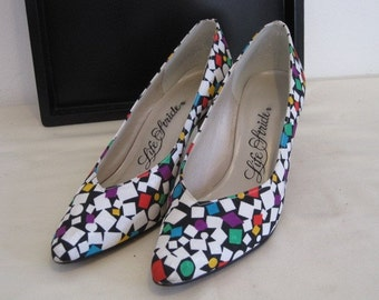 vintage Confetti Silk Pumps by Life Stride  size 7 1/2 N