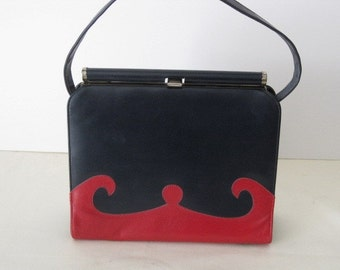 vintage Posh Navy with Red Scroll Accents - Naturalizer Handbag
