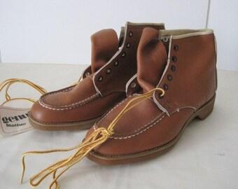 vintage Saddle Tan Leather Laceup WORK Boots  size 7 medium