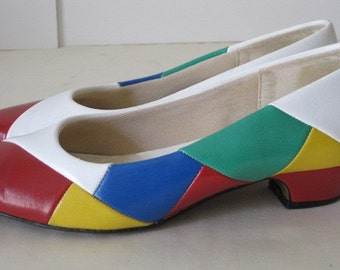 vintage Harlequin Bright Patchwork pumps by Easy Street  size 7 narrow