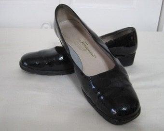 vintage Black Patent Moc Croc Classic Flat shoes by Salvatore Ferragamo - size 8 narow