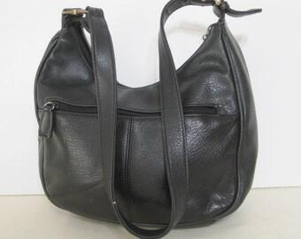 vintage Pebble Grained Black Leather Pouch Shoulder Bag