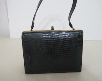 vintage 1950s Navy Lizard Kelly Handbag