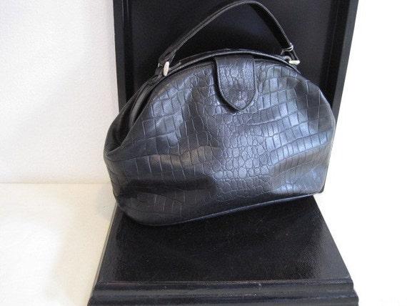 vintage Gianni Bernini Black Leather Doctors Bag Satchel