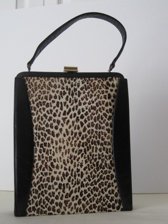 vintage Cheetah and Black Leather Handbag by Tower Chicago