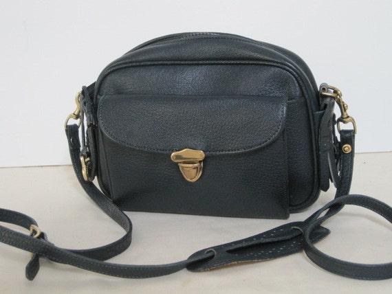 vintage Dooney and Bourke Navy Leather Cross Body or Shoulder Strap Handbag
