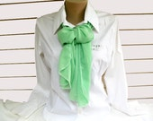 Vintage Mint Green Scarf -  rectangular  Wedding Accessory - OOAK