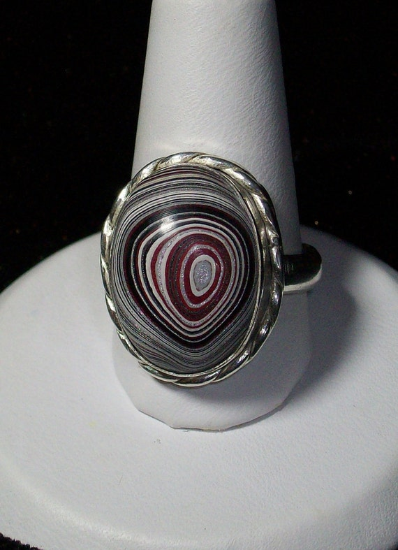 Colorful Detroit Agate (aka Fordite) Ring set in 925 Sterling Silver size 8